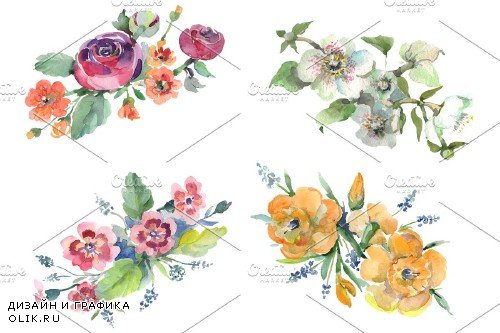 Bouquet Hello summer watercolor png - 3745946