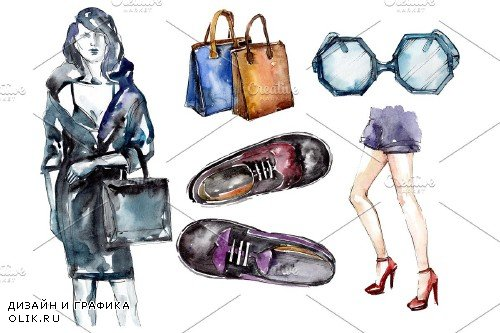 Collection fashion peep watercolor - 3753756