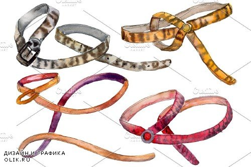 Chains, leather belts Watercolor png - 3752451