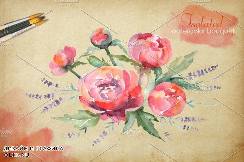 Euro Bouquet pink Watercolor png - 3756805