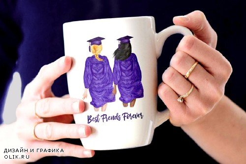 Graduation Clipart Watercolor Girls - 3759157