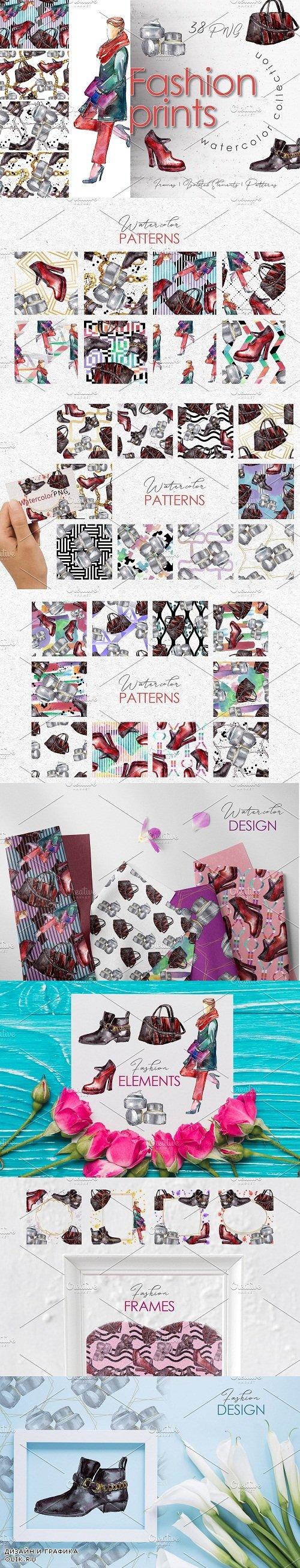 Fashion prints Watercolor png - 3758543