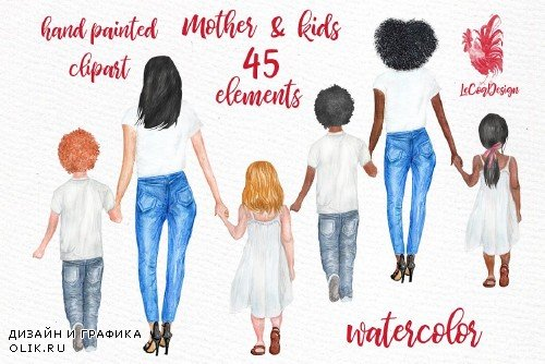 Mother and children clipart - 3759368