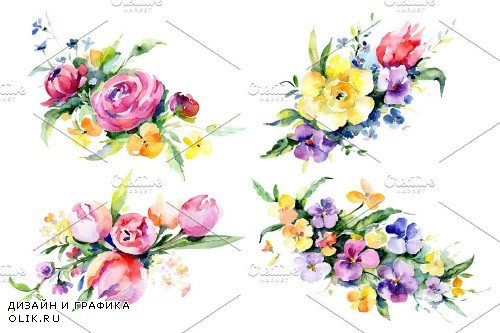 Bouquets with violas,roses - 3758865