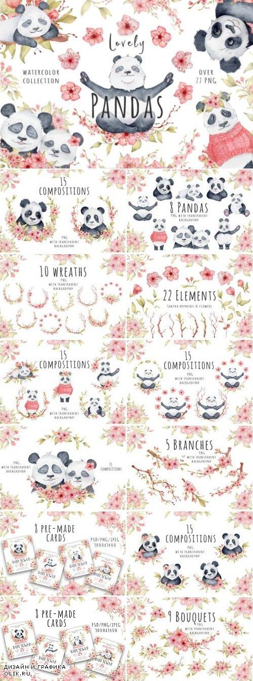 Lovely Pandas and Sakura - 3758603