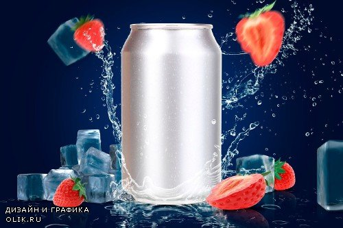 Tin Can Water Droplets Mockup - 3753040