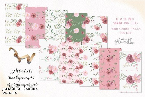 Rose Pink Seamless Patterns Leaf Set - 3181798