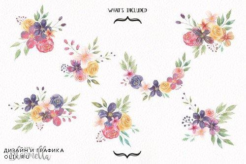 Festival Watercolor Clipart Bouquets - 2570739