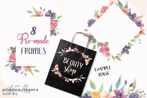 Festival Frames Floral Clipart Set - 2570994