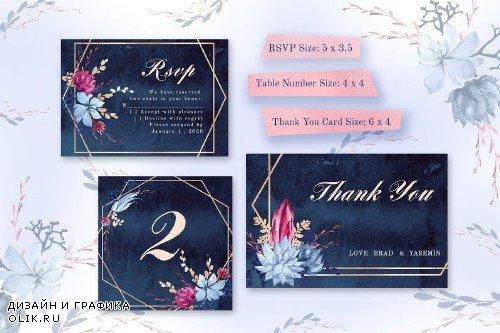 Navy Watercolor Wedding Invitations 3667903