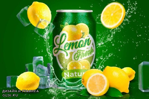 Tin Can Water Droplets Lemon Mockup - 3754132