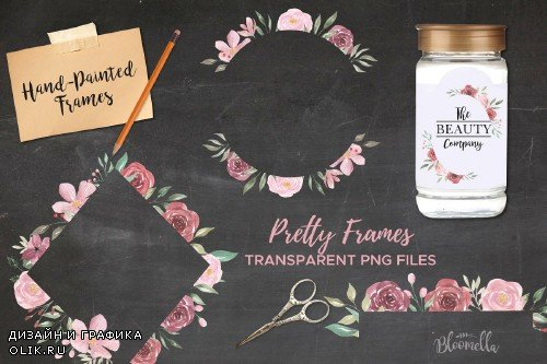 Flower Watercolor Frame Clipart Kit - 3163987