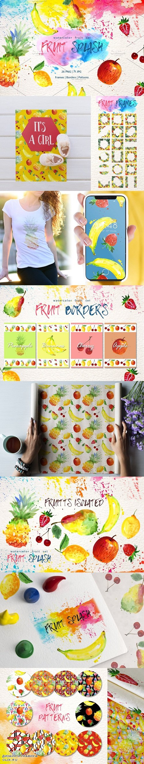 Watercolor fruits PNG set - 3102676