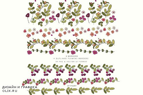 Hand-Draw Flowers Clipart - 3764357