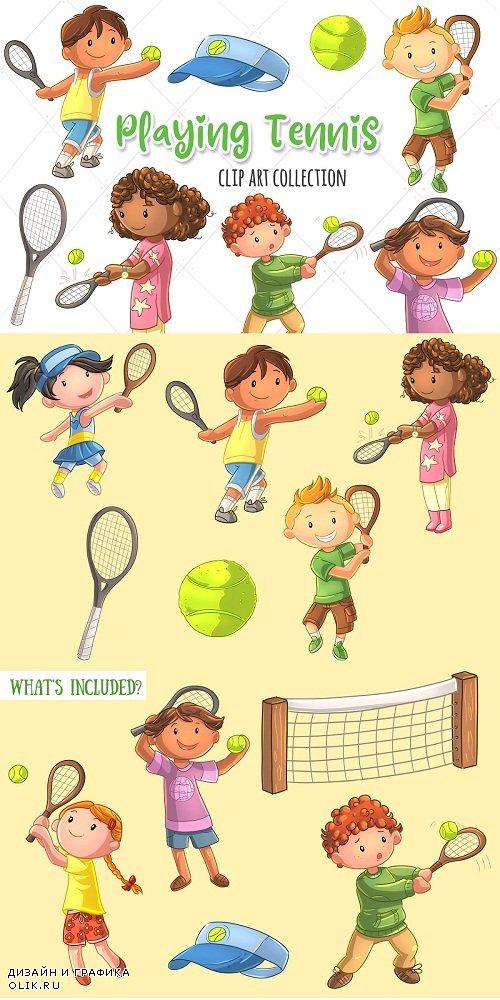 Cute Kids Playing Tennis - 3760323