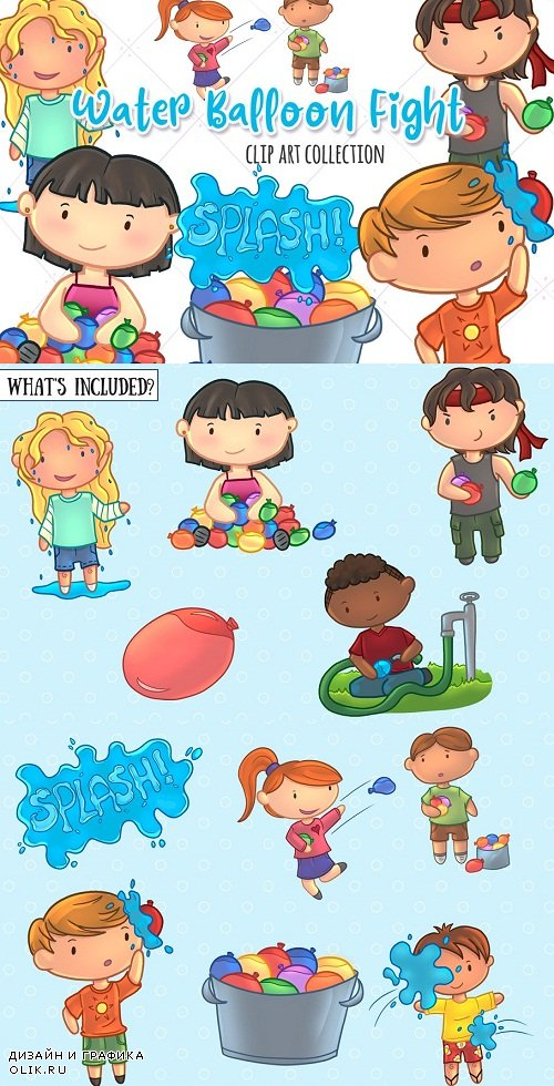 Water Balloon Fight Clip Art - 1786424