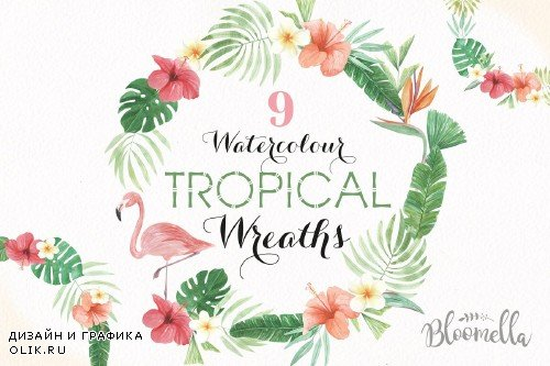 Tropical Watercolor Flamingo Wreaths - 2463970