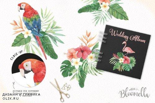 Tropical Watercolor Flamingo Clipart - 2463033