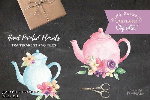 Watercolor Floral Teapot Wonderland - 2639340