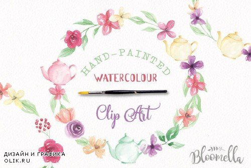Teapot Watercolor Flower Wreaths Kit - 2435257