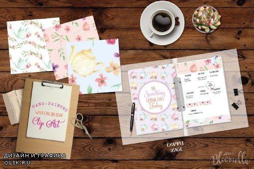 Watercolor Teapot Floral Patterns - 2366627