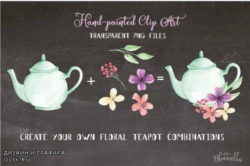 Teapot Floral Flower Elements Kit - 2432002