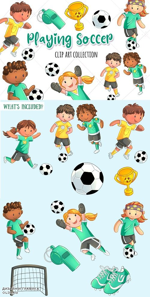 Cute Kids Playing Soccer - 3760326