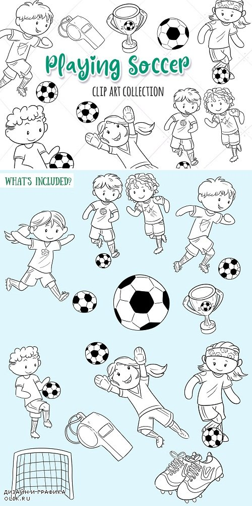 Kids Playing Soccer Black and White - 3760327