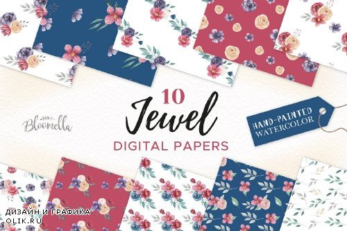 Jewel Watercolor flower Patterns Set - 2640832