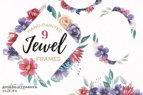 Jewel Watercolor Frames & Borders - 2631979