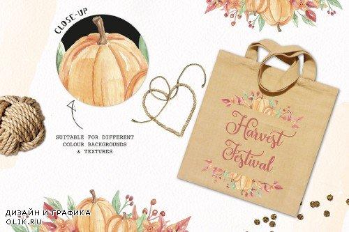 Pumpkin Frames Clipart Watercolor - 2644492