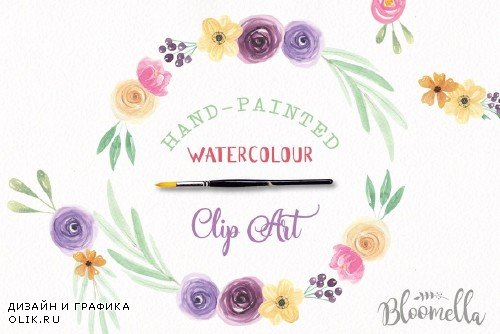 6 Watercolor Flower Wreaths Clipart - 2435283