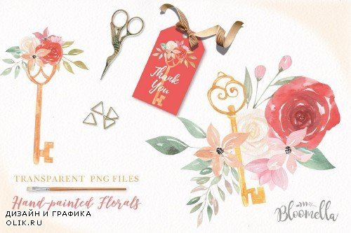 Keys & Locks Watercolor Clipart Set - 3088360