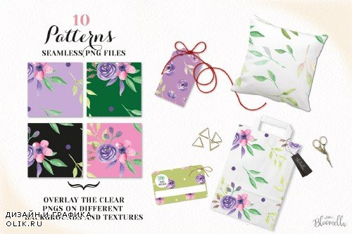 Watercolor Purple Flowers Floral Set - 2639223