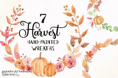 Pumpkin Watercolor Wreath Clipart - 2644403
