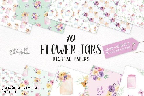Flower Jar Watercolor Patterns Set - 2639343