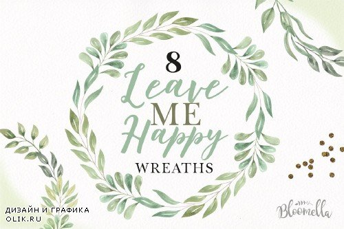 Leave Me Happy Leaves Wreaths Green - 3231014