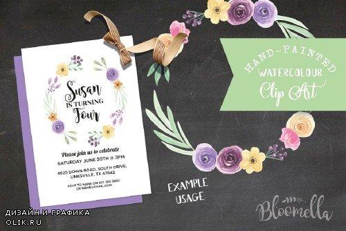 6 Watercolor Flower Wreaths Clipart - 2435283