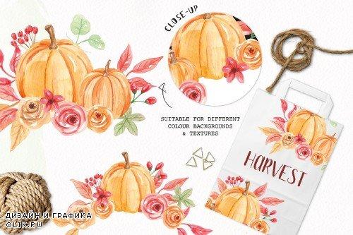 Pumpkin Clipart Bouquets Watercolor - 2644534