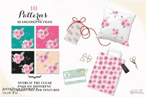 Pink Rose Watercolor Patterns Floral - 2639084