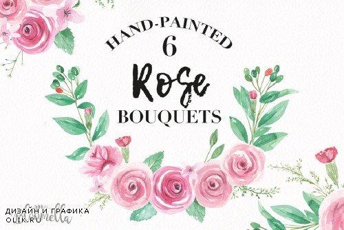 Pink Rose Bouquet Watercolor Set - 2639266