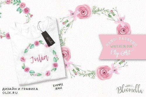 Rose Garden Floral Wreath Watercolor - 2641492