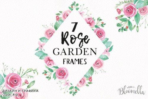Rose Watercolor Pink Frames Kit - 2432986