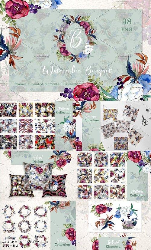Bouquet flower biography watercolor - 3775767
