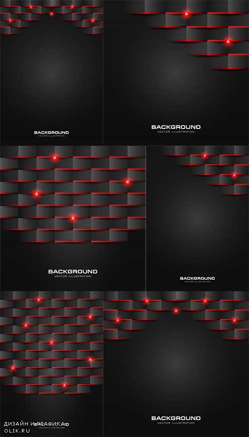 Чёрные с красным абстрактные фоны в векторе / Black with red abstract backgrounds in vector