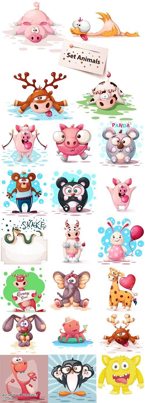 Забавные животные - Векторный клипарт / Funny animals - Vector Graphics