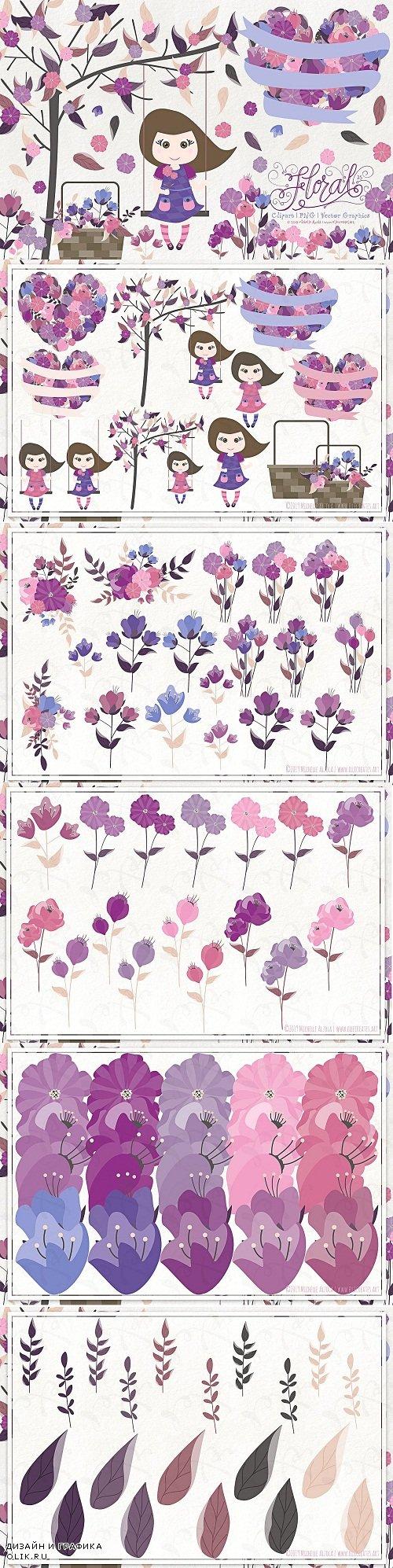 Flora 25 Purple - Flower Clipart - 3781739