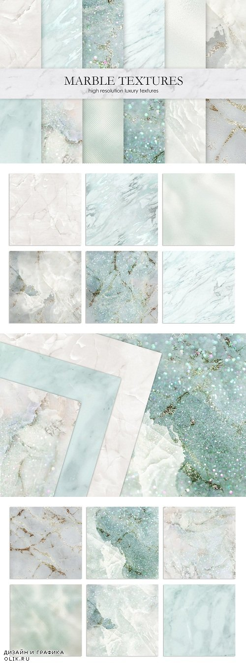 Gold Marble and Watercolor Textures - 3302977