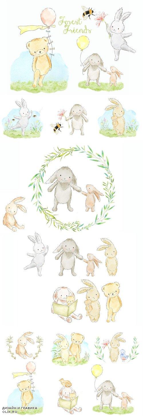 Little animals watercolor clip art - 3705006