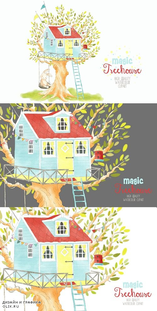 Treehouse watercolor clipart png - 3728383